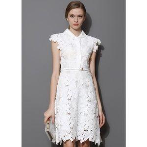 NEW Chicwish White Laser Cut Dress